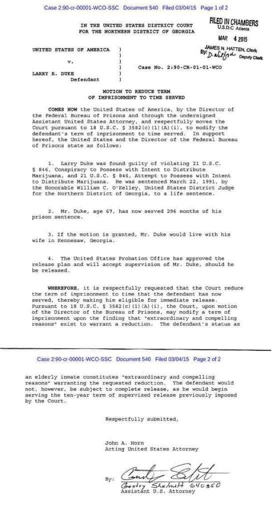 court order releasing Larry Duke, Life for Pot