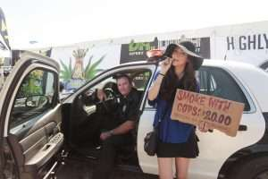 Dina Browner AKA Dr. Dina, at the #hotboxcopcar at Chalice, benefitting marijuana prisoners.