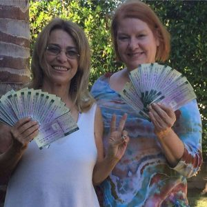 Stephanie Landa and I with money orders for commissary funds for 27 nonviolent marijuana prisoners
