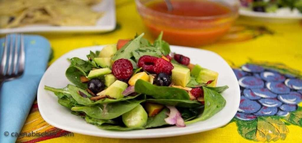 Cannabis Recipe - Summer Spinach Salad with Reefer Raspberry Vinaigrette