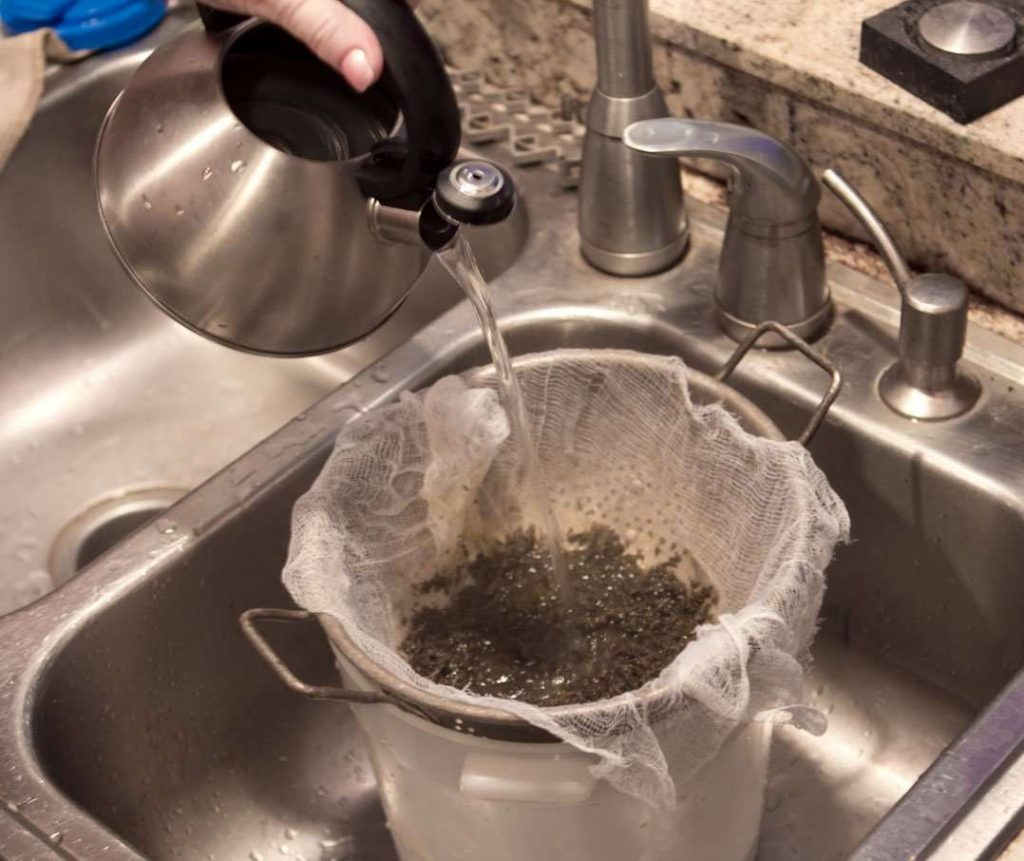 Give the marijuana butter an extra rinse with boiling water to extract as much as possible.
