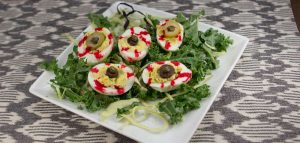 Halloween Marijuana Recipes -- Bloodshot Deviled Egg Eyballs infused with cannabis