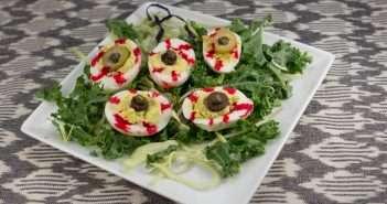 Halloween marijuana Recipes -- Bloodshot Deviled Egg Eyballs infused with cannabis
