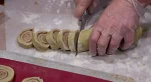 cut the rolled dough into cookies