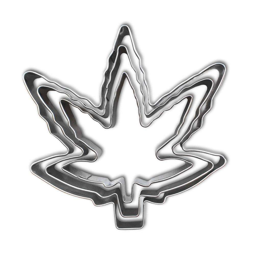marijuana leaf cookie cutter set - cannabis gift picks