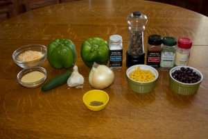 Ingredients for medicated Tamale Stuffed peppers.