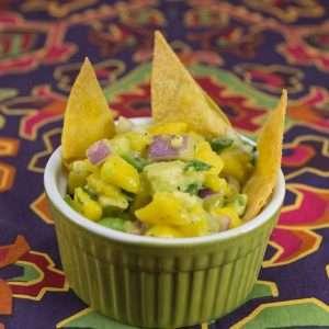 Marijuana Recipes - Baked Lime Tortilla Chips with mango Avocado Salsa