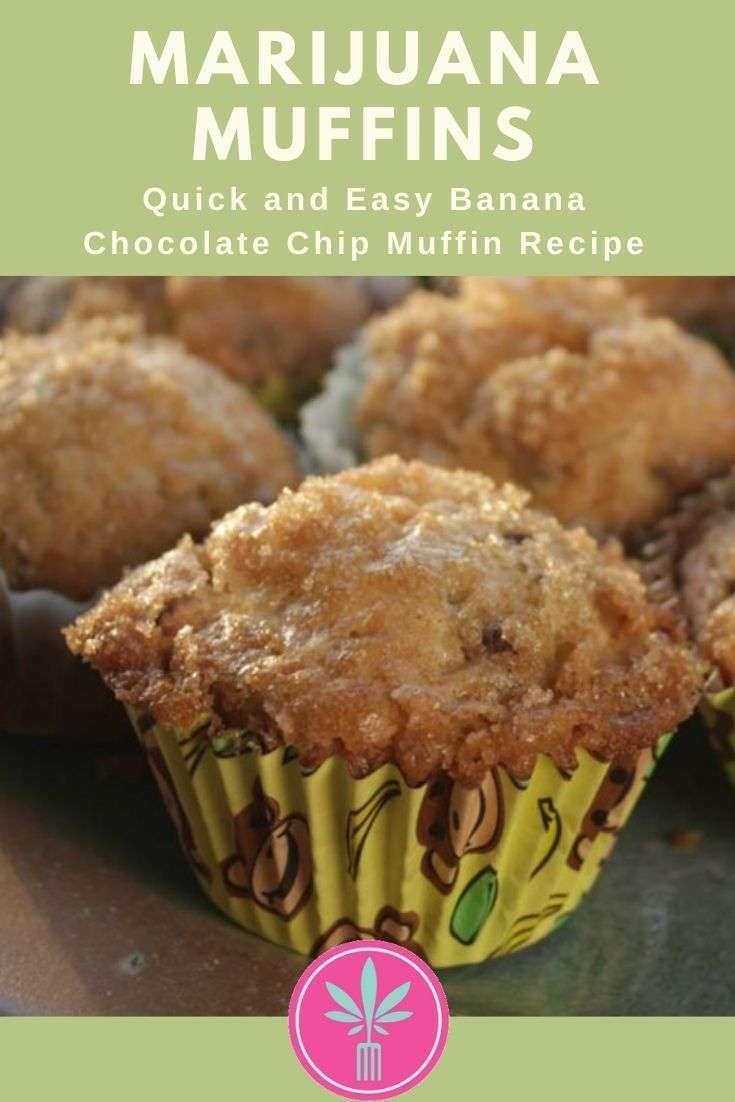 Marijuana infused Banana Chocolate Chip Muffins
