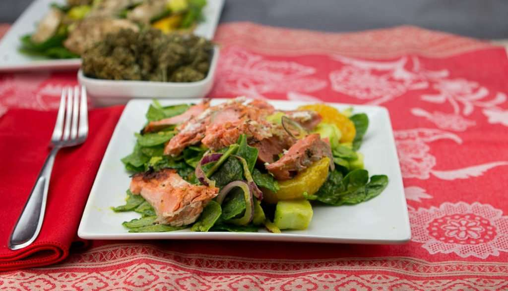 Marijuana Salad Recipes - Spinach and Salmon Salad with Orange Vinaigrette