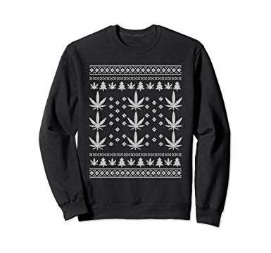 Low Key Marijuana Ugly Christmas Sweatshirt