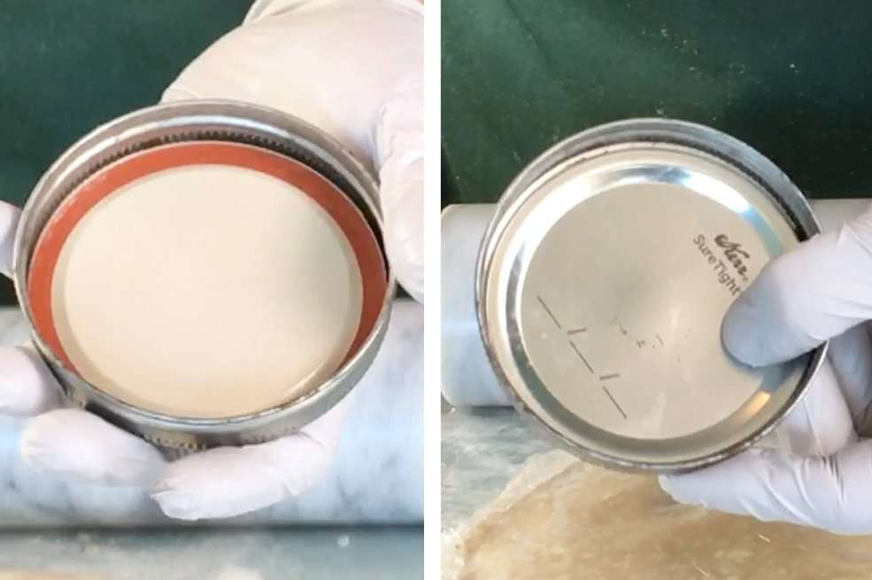 Preparing Mason Jar lids for baking individual marijuana pies