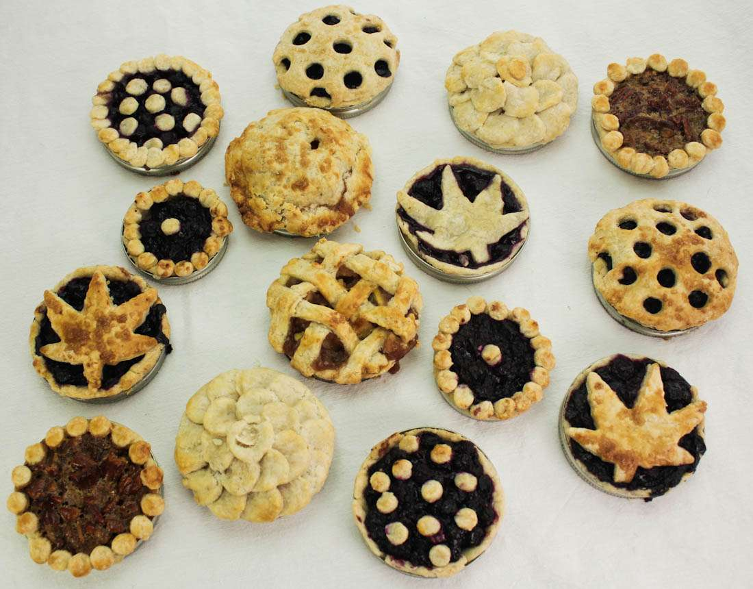 mini marijuana pies baked in Mason Jar lids