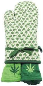 Marijuana Oven Mitt and Kitch Towels