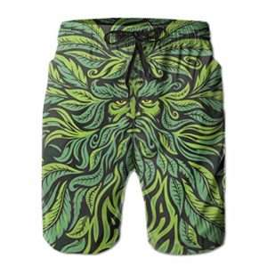 Green man style men's marijuana swim shorts
