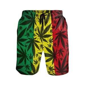 Reggae style men's marijuana swim trunks