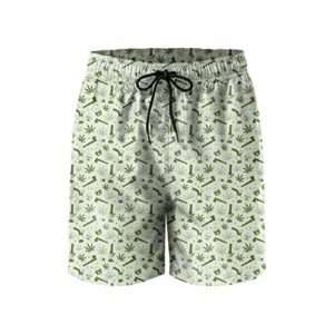 Green and White Marijuana Swim Trunks for men