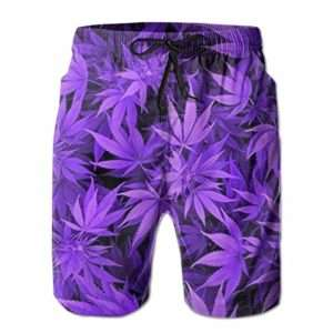 Purple Haze marijuana swim trunks for men