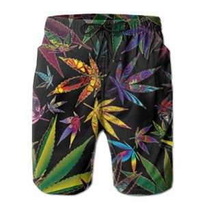 Colorful pot leaf marijuana swim trunks for men