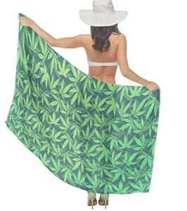 green and black sheet chiffon marijuana leaf sarong