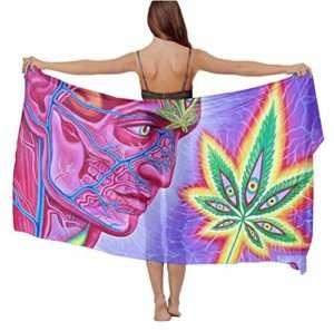 Psychedelic sheer chiffon sarong or beach cover up