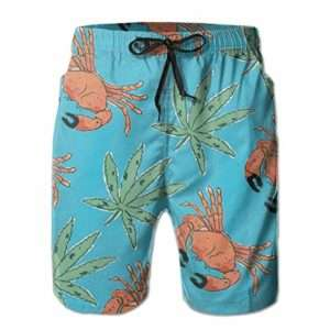 Whimsical Crab and Marijuana Leaf Swim Trunks for Men