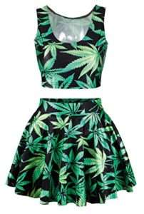 Marijuana crop top and skater's skirt in green and black