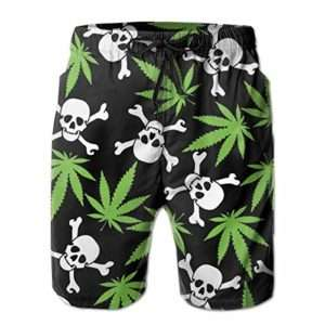 Skull and Crossbones Marijuana Swim Shorts for men