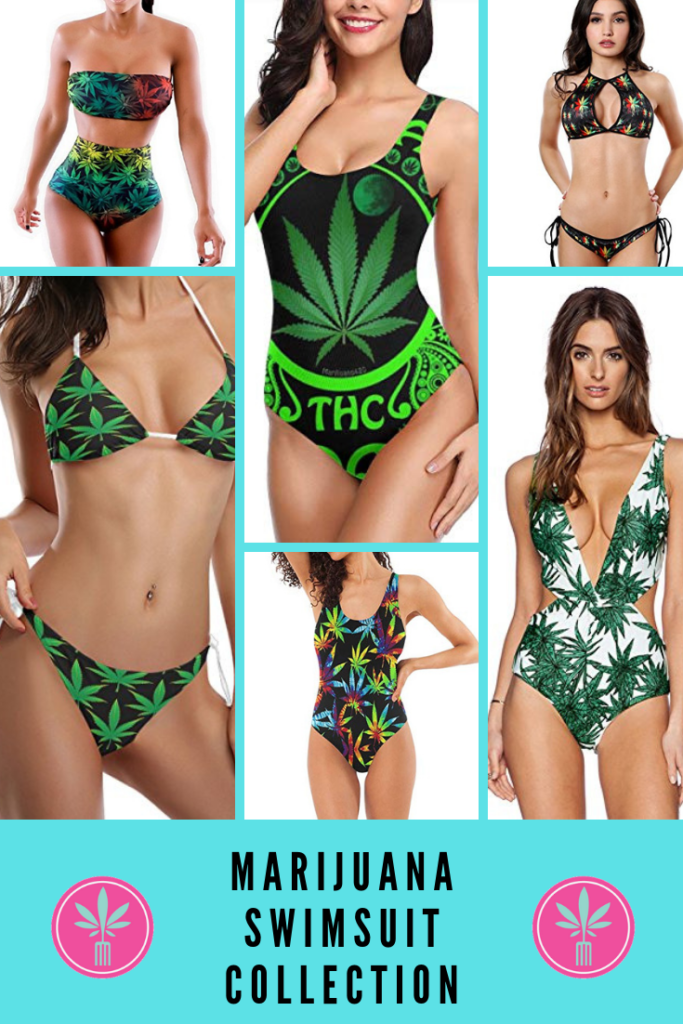 A collection of marijuana themed bathing suits and bikinis