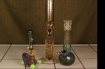 2 glass bongs and a glass dab rig