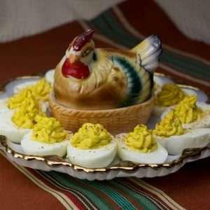 Platter of cannabis infused Deviled Eggs on a vintage deviled eggs platter