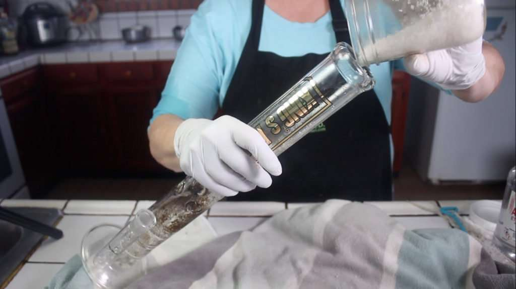 cleaning a big bong with salt and alcohol