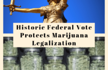 Lady Justice with jars of marijuana