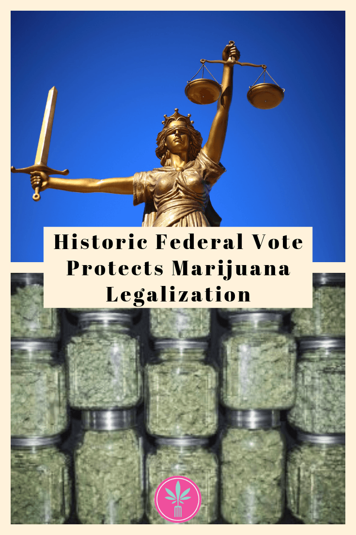 Lady Justice with jars of marijuana