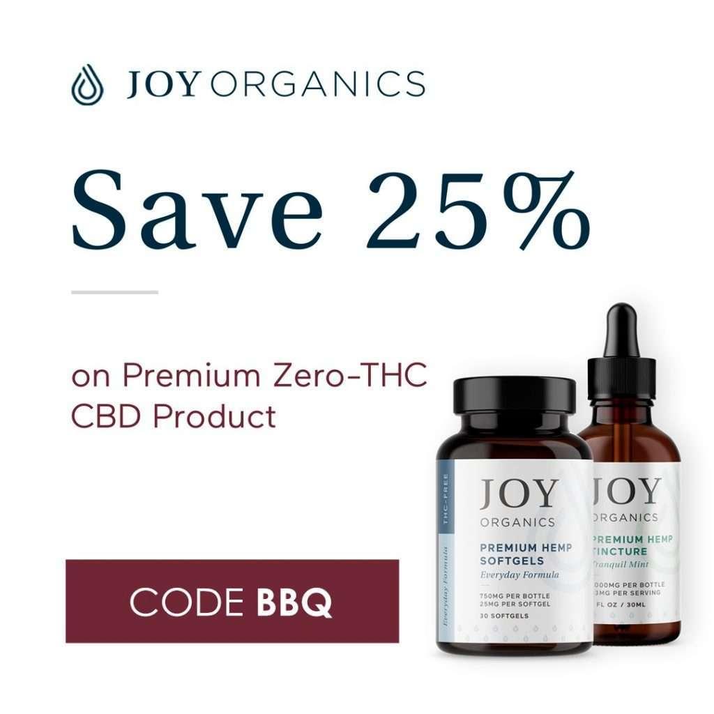 Joy Orangics CBD Products, Save 25%
