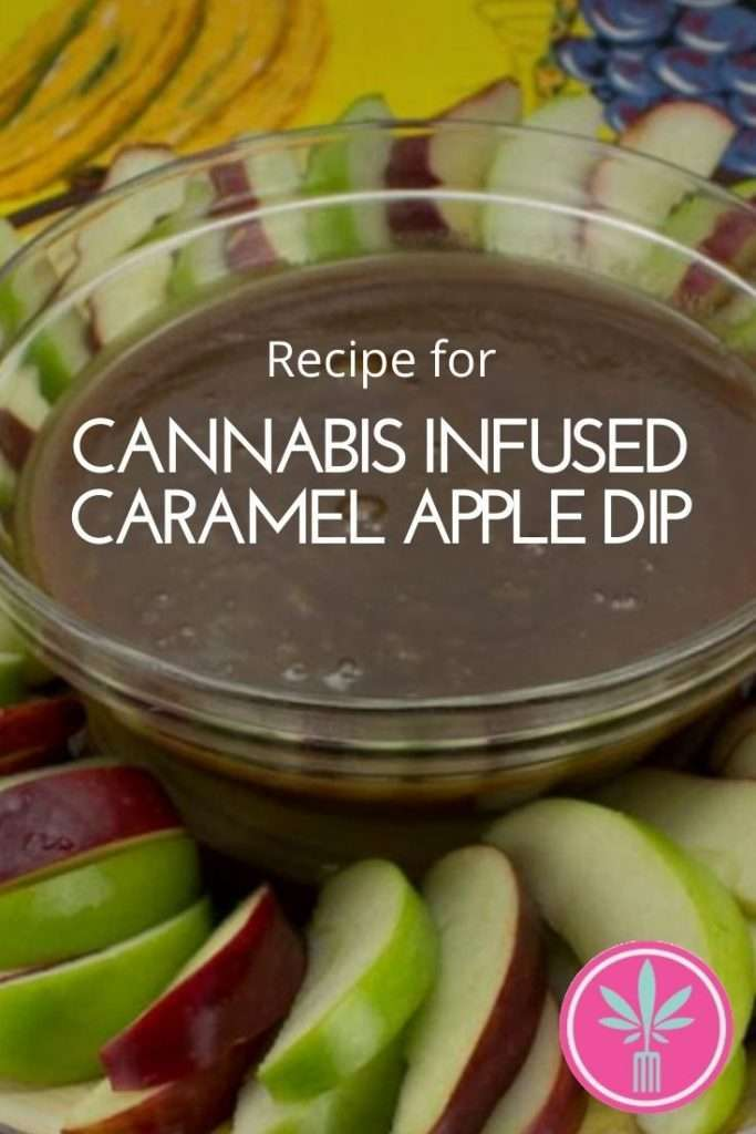 arijuana infused caramel apple dip with red and green apples