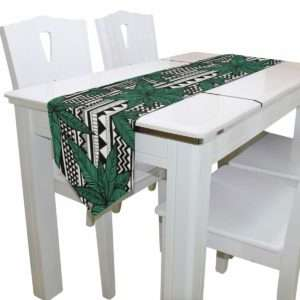 geometric design marijuana leaf table runner