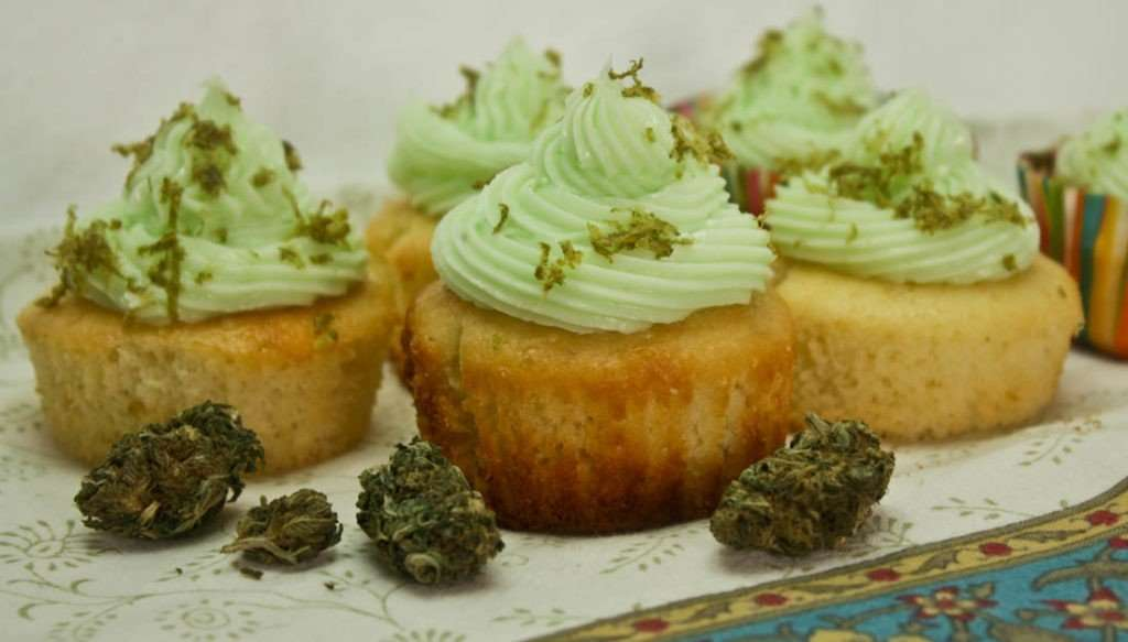 Marijuana infused key lime cupcakes