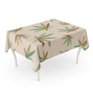 Tropical marijuana leaf tablecloth