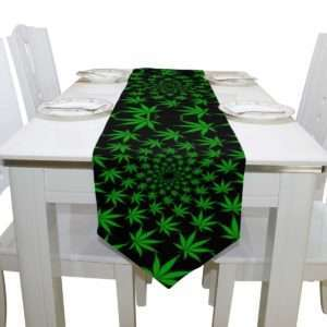 green and black marijuana leaf table runner