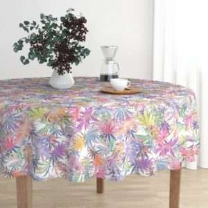 Rainbow Pot Leaves Marijuana Tablecloth