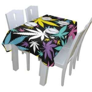 Multi Colored Marijuana Leaves Tablecloth