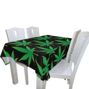 Classic green and black marijuana leaf tablecloth