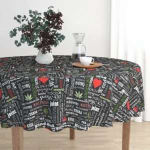 Marijuana Words Tablecloth