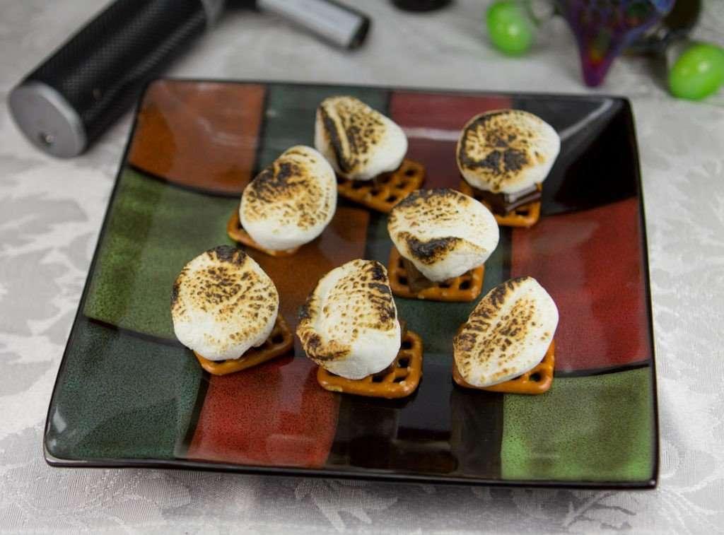 Marijuana Pretzel S'mores make with a dab torch