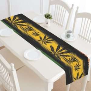 golden ganja leaves table runner
