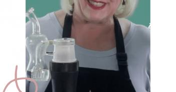 Woman with the Dr Dabber Switch marijuana vaporizer