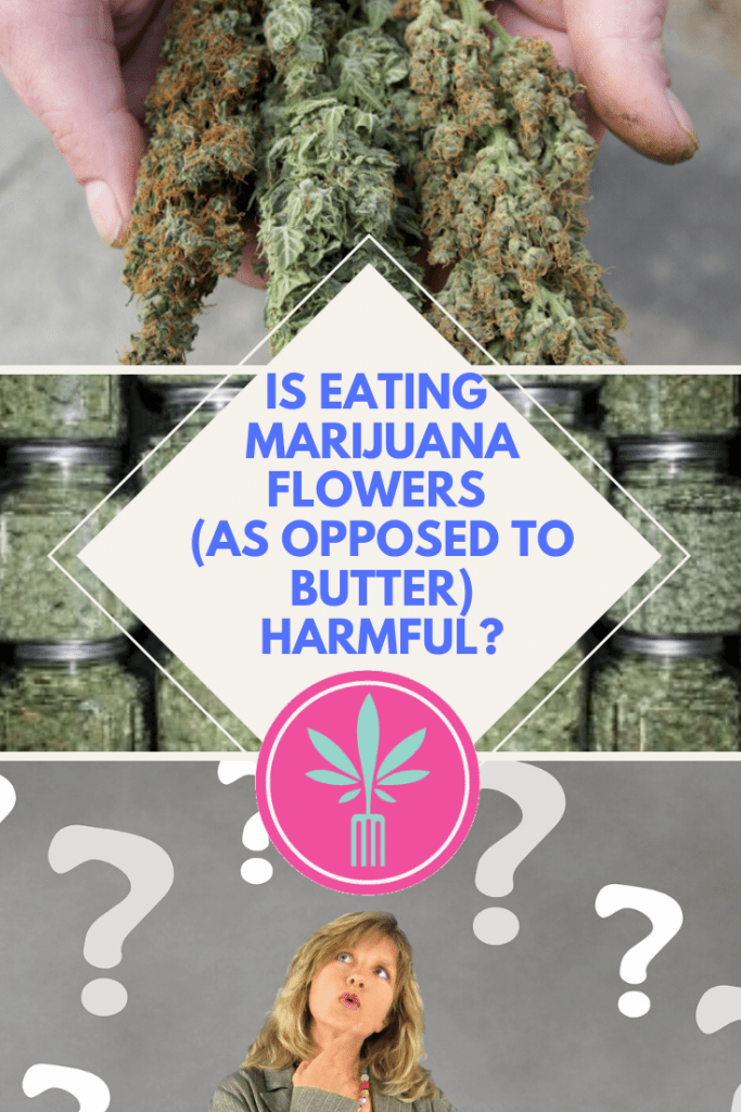 """caption """"Is eating marijuana flowers harmful?"""""""