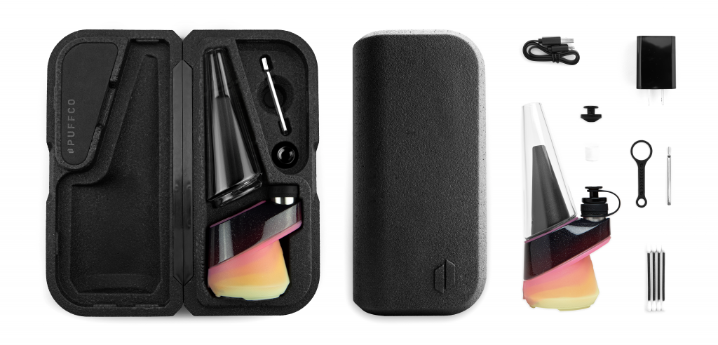 Puffco Peak concentrate vaporizer in its case