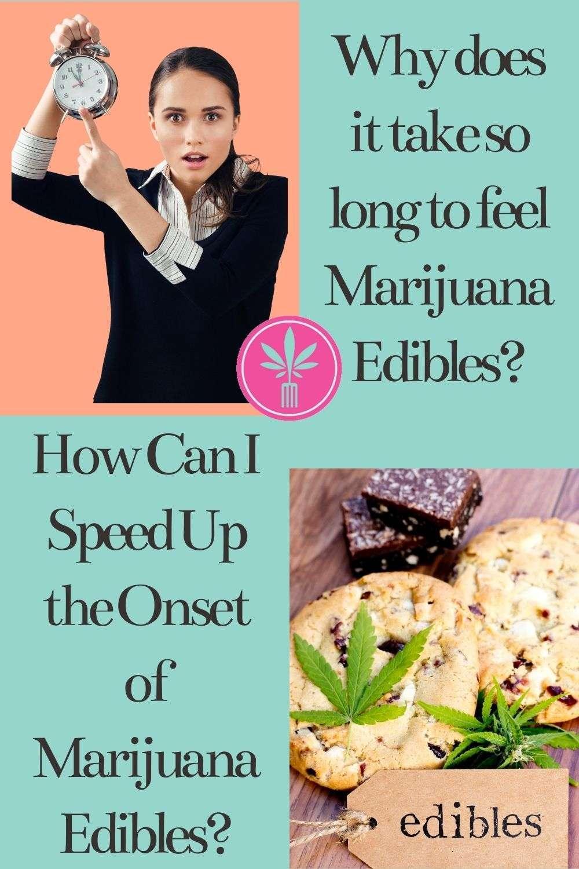 marijuana edibles and a woman holding a clock