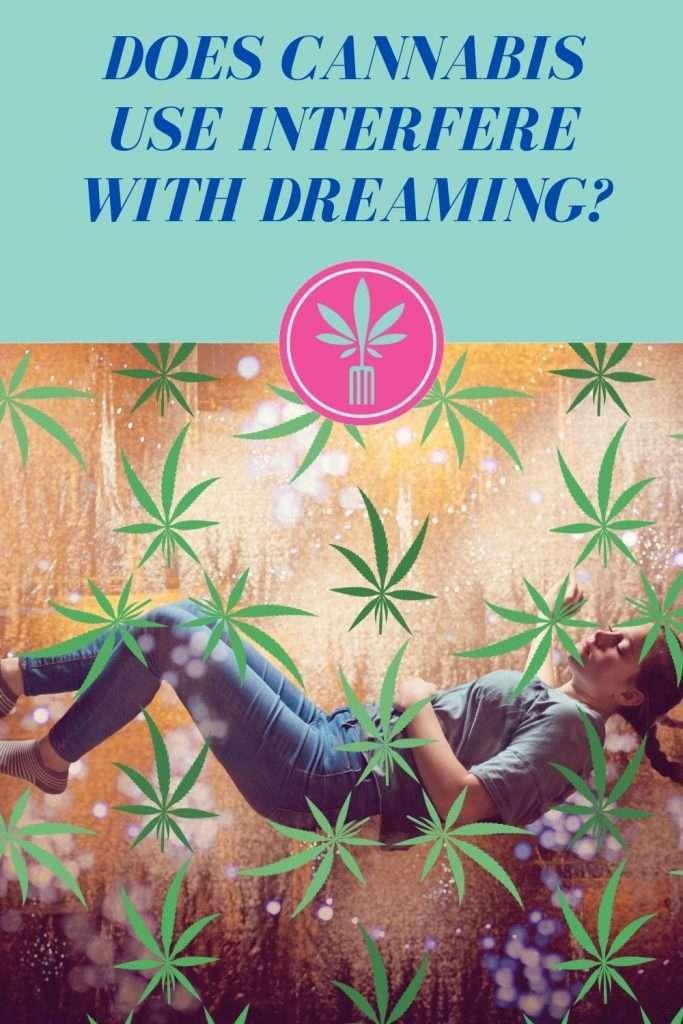 woman sleeping, marijuana leaf, text: does marijuana use interfere with dreaming